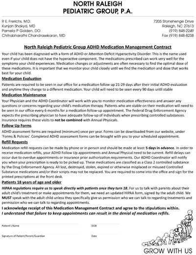 ADHD Medication Contract for Parents