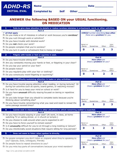 Teen's ADHD-RS Follow up Assessment Form - On Medication
