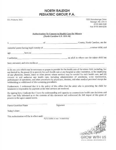 Medical Authorization Sheet - Minors